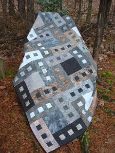 Gray and Brown Batik Bed Quilt by Jackiesewingstudio on Etsy, $230.00
