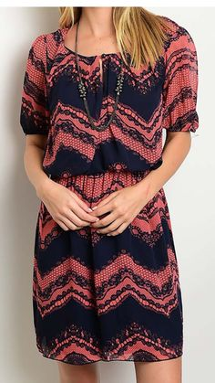 Coral/ Navy Dress