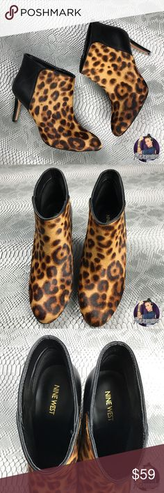 Nine West Valid leopard fur heeled bootie New . Has been tried on at store , but never worn . Sexy booties perfect to spice up your work attire or dress up for a night on the town ! Real fur . Cow leather . Nine West Shoes Ankle Boots & Booties