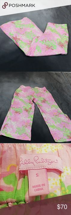 Lilly Pulitzer 100% cotton beach pants. S Lilly Pulitzer wide leg beach pants. Pockets. 100% cotton. Pink, green, yellow. Small. Excellent condition. Approximate flat measurements: Waist (back of waistband has elastic so is forgiving) - 15.25' Inseam - 28' Lilly Pulitzer Pants Wide Leg