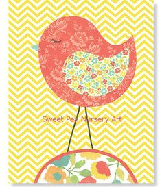 Nursery Bird Aqua Coral Green Yellow Nursery by SweetPeaNurseryArt, $15.00