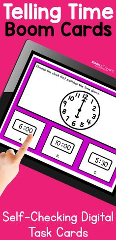 These telling time boom cards are an engaing digital activity. They can be used as a digital telling time math center, telling time homework, or as a telling time review activity. Each card is self-checking so students receive automatic feedback on their answers. First Grade Science, First Grade Writing, First Grade Activities, Teaching First Grade, Teaching Math, Student Learning, Math Activities, Telling Time Activities, Time To The Hour