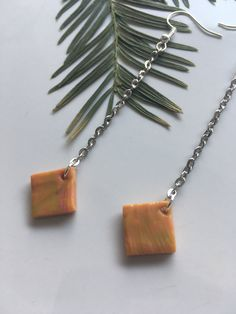 Polymer clay earrings with botanical print / Statement jewelry / Unique gift by ByDashka on Etsy