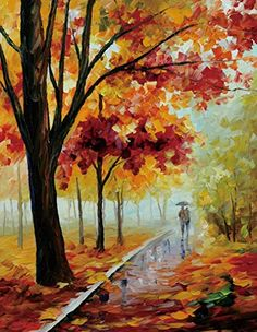 Van Eyck Couple Walking in Tree-lined Paths Colorful Palette Knife Oil Painting of Tree Wall Canvas linen Art Prints Pictures Wall Art for Bedroom Living Room HD-47: Amazon.co.uk: Kitchen & Home