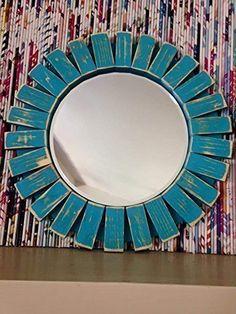 Sunburst Wall Mirror Round Wood Frame Red 22'' Flamingo Red