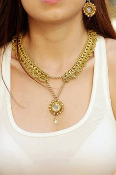Gold Crochet necklace with gold plated metal by PninaBDesign