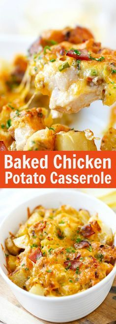 Baked Chicken and Potato Casserole (So Cheesy!) – Rasa Malaysia Baked Chicken and Potato Casserole – crazy delicious chicken potato casserole loaded with cheddar cheese, bacon and cream, easy recipe for the family. Chicken Potato Casserole, Chicken Potatoes, Casserole Dishes, Loaded Potato Casserole, Cheese Potatoes, Chicken Potato Bacon Recipe, Chicken And Cheese Recipes, Potato Recipes, Easy Recipes With Chicken