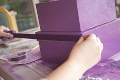 Adding of embellishments - I chose 2 ribbons - The purple one slightly wider than the brown and then laid brown one on top of purple one. Diy Card Box, Ikea Boxes, Ribbons, Guest Room, Embellishments, Room Ideas, Diy Projects, Purple, Brown