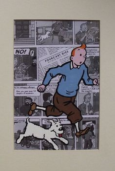 Tintin and Snowy animation cel 12 x 10 inch hand painted mounted ready to frame