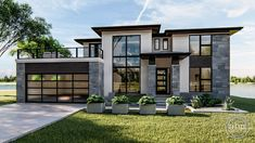 Plan 4 Bed Modern Prairie Style House Plan With Massive Balcony Over Garage