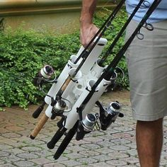 Portable Fishing Rod Holder Rod Caddy Carrier. Introducing the latest in fishing rod transportation. Whether you're fishing bridges, beaches, or boats; inshore or offshore, freshwater or saltwater. Now you can go fishing faster and stay fishing longer with the Rod-Runner! Protect & Respect your Fishing Rods with a Rod-Runner fishing rod holder rod caddy! #fishingrod