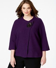 JM Collection Plus Size Embellished Wool Wrap-Front Cardigan, Only at Macy's
