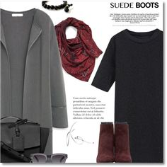 Style Staple: Suede Boots by bynoor on Polyvore featuring polyvore, fashion, style, MANGO, Proenza Schouler, Reed Krakoff, Moscot and Halogen