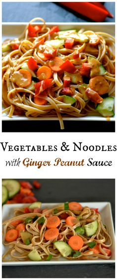 Vegetables and Noodles with ginger peanut sauce. Meatless meal that is simple and kid friendly!