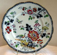 Francis Morley Plate, Ironstone Chinoiserie, Peacock, Antique 19th C English