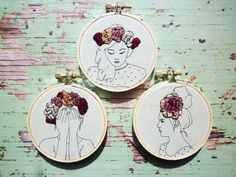 Floral Crown Embroidery 'Thea' in Blueberry by CheeseBeforeBedtime