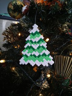 Frosted Christmas Tree Decoration Perler beads by CrackBrainCrafts