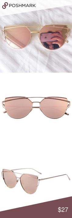 New Rose Gold Mirrored Reflective Sunglasses Brand new! ⚜️I love receiving offers through the offer button!⚜️ Fast same or next day shipping!📨 Open to offers but I don't negotiate in the comments so please use the offer button😊 New with tags = new and never worn, these didn't come with tags as seen in first picture. Accessories Sunglasses