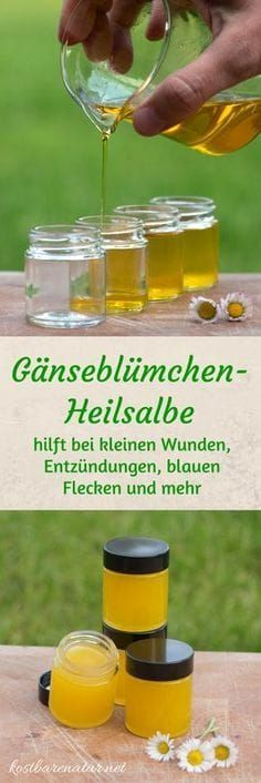 Aus einfachen Zutaten ist die heilende Gänseblümchensalbe ganz schnell hergest… From simple ingredients, the healing daisy ointment is made quickly and saves you from buying expensive wound and healing ointments. Homemade Beauty, Diy Beauty, Homemade Cosmetics, Belleza Natural, Natural Cosmetics, Natural Health, Body Care, Health And Beauty, Natural Remedies