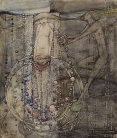 """Man Makes the Beads of Life but Woman Must Thread Them"" c.1912-15  Hunterian Art Gallery Mackintosh collections"