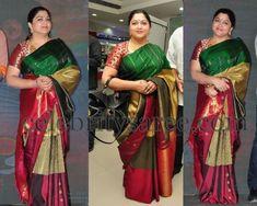 Exclusive Collection of Indian Celebrity Sarees and Designer Blouses Cutwork Saree, Bandhani Saree, Kanchipuram Saree, Silk Sarees, Beautiful Saree, Beautiful Indian Actress, Beautiful Outfits, Saree Blouse Patterns, Saree Blouse Designs