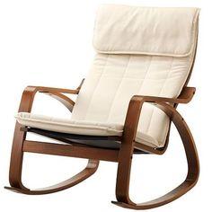 New IKEA POANG Rocking Chair Medium Brown Frame Alme Natural Cushion