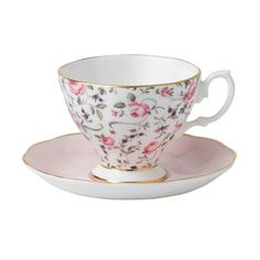 Royal Albert Rose Confetti Vintage Espresso Cup and Saucer Set