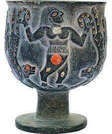 Jiroft,  yacimiento del antiguo Elam . Vaso de clorita del tercer millenio a.C. Influencia del mundo de Uruk.