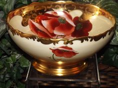 Limoges Footed Center/Master Bowl Poppy and Daisy Decor by Listed Artist Osborne
