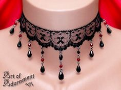 Lucrezia Gothic Lace Teardrop Choker $26.00. Also available with purple accent beads.