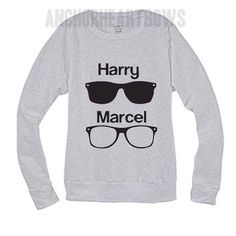One Direction Harry and Marcel Crew Neck Sweatshirt Nialler Zayn Malik Harry Styles Liam Louis Niall Horan 1D Hipster #97