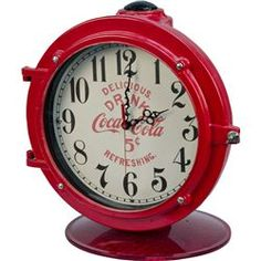 """Drink Coca Cola 5 Cents"" Red Countertop Porthole Clock on Red Swivel Base, ""Delicious. Refreshing."""