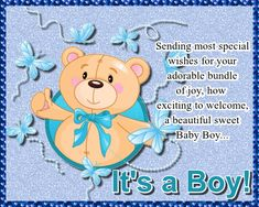 Cute bear card to welcome a gorgeous newborn baby boy. Free online Adorable Bundle Of Joy ecards on Congratulations 123 Greetings, American Greetings, Baby Shower Cards, Baby Boy Shower, Bear Card, Congratulations To You, Wishes Messages, New Baby Cards, Free Baby Stuff