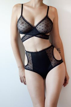 Kelly lingerie set - criss cross triangle bra and high waisted mesh panties with cutouts