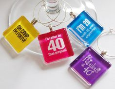 40th Birthday wine glass charms.