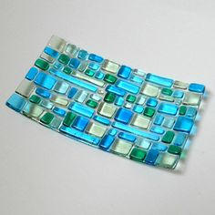 Turquoise Blue & Green Fused Glass Plate 7 x 4 Inches  #Mosaic #glassart