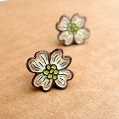Cream Dogwood Flower Stud Earrings. $35.00, via Etsy.