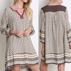 Arrives Soon Bohemian Babydoll Dress This bohemian mixed print babydoll dress has a loose fit and three-quarter sleeves. Sizes: Small Comment below with size & I will create a separate listing for you to purchase. Dresses