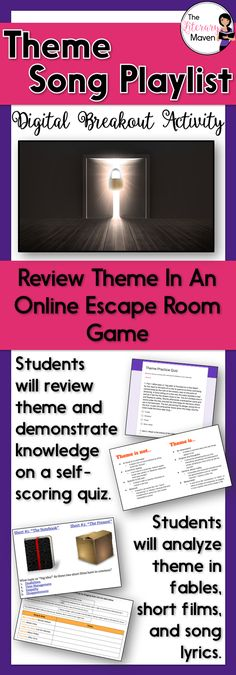 This digital breakout is intended for reinforcing theme. In this Escape Room-like game, students will interact with a variety of text and media. Students will use this information to find the codes that will unlock a series of locks. This unique activity will require students to think creatively and work collaboratively.
