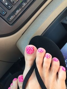 Love My Hot Pink Polka Dot Spring Toe Nails