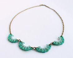 Macramè wave beaded collar neckalce boho aqua by KnottedWorld