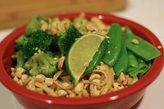 Aromatic Noodles with Lime-Peanut Sauce by amyisaacson, via Flickr