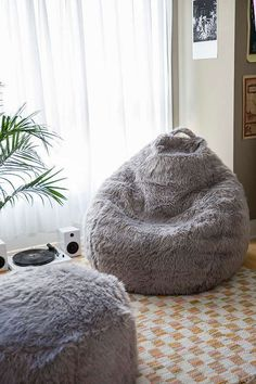 Slide View: 1: Aspyn Faux Fur Shag Bean Bag Chair #BeanBagChair