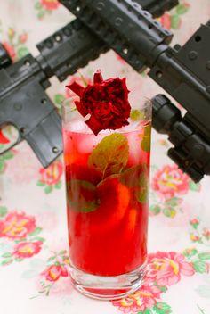 Rose Water Mojito:  dark rum  rose water  blood orange  lemon  mint