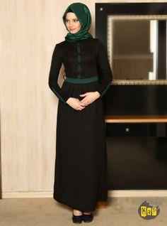 Fiyonk Detaylı Elbise – Siyah Yeşil – Refka Tesettür | Armine | Aker | Kayra | Setrms