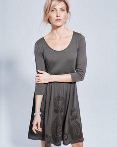 Embroidered Three-Quarter-Sleeve Knit Dress