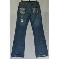 "BEBE Rhinestone Jeans  Medium blue distresses  denim with rhinestone accent on back pockets. I 31"" W 29. NWOT bebe Jeans Flare & Wide Leg"