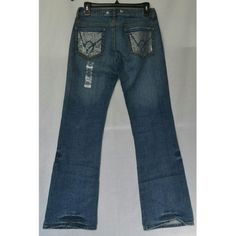 "BEBE Rhinestone Jeans SALE Medium blue distresses  denim with rhinestone accent on back pockets. I 31"" W 29. NWOT bebe Jeans Flare & Wide Leg"