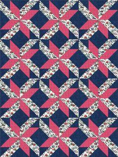 Pink Floral Blooms PRE-CUT Quilt Kit Blocks