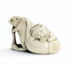 Sotheby's Netsuke rat and napping cat